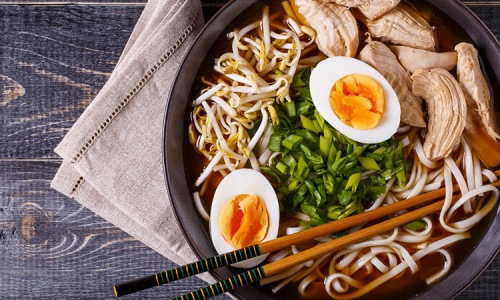 bowl with food and eggs
