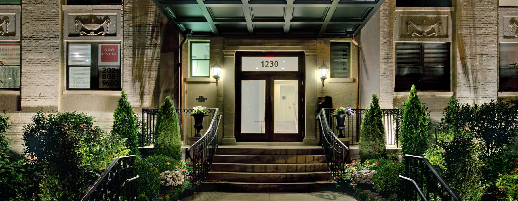 Exterior night shot of front entrance